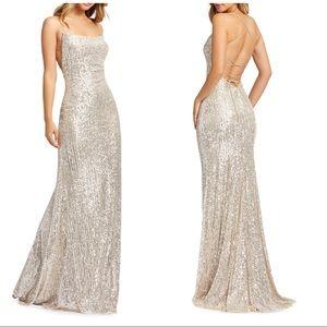 Ieena for Mac Duggal Sequin Open Back Column dress